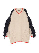 Fringe Sleeve Big Sweater