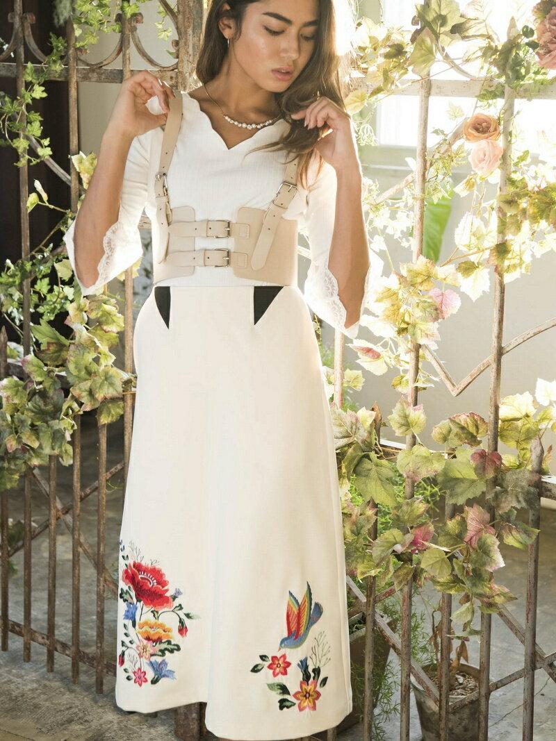 Million Carats 刺繍ロングスカート[DRESS/ドレス] ミリオンカラッツ スカート【送料無料】