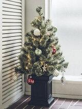 クリスマスツリー LEDライト付 90cm