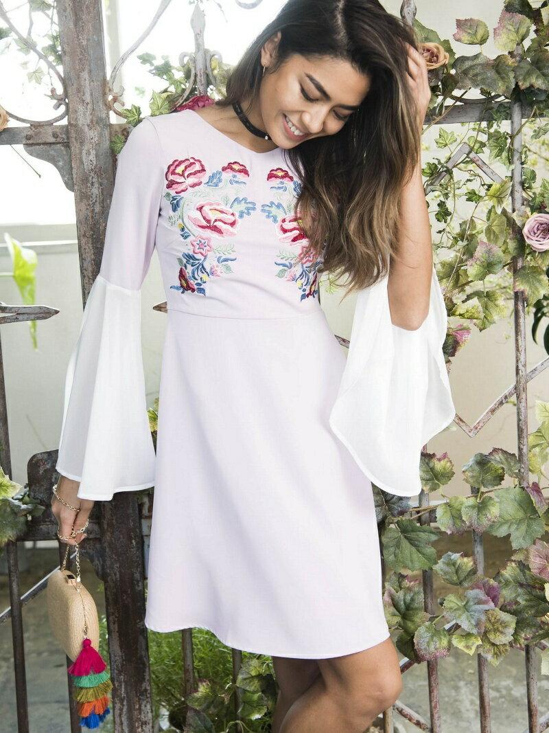 Million Carats 刺繍フレアワンピース[DRESS/ドレス] ミリオンカラッツ ワンピース【送料無料】