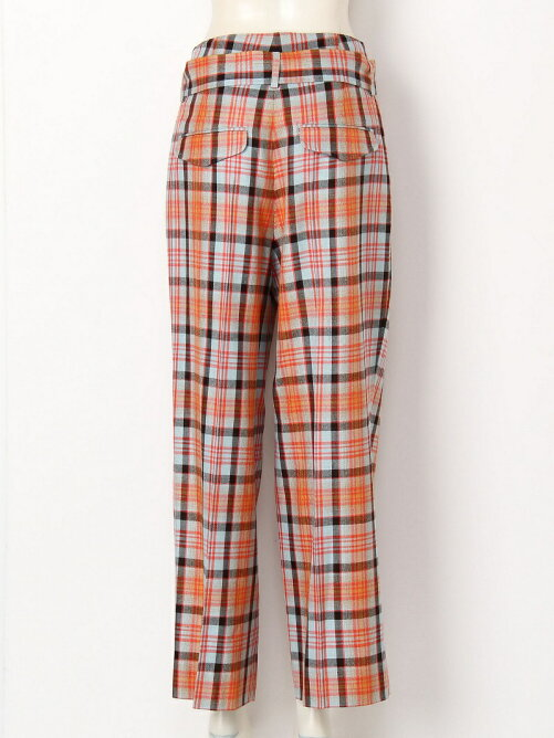 shadow check highwaist two tuck pants