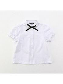 COMME CA ISM リボンタイ付き 半袖ブラウス (100cm~130cm) コムサイズム シャツ/ブラウス シャツ/ブラウスその他 ホワイト