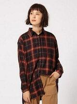 (W)レーヨンチェックロングシャツ