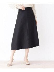 grove 【洗える】カルゼサイド釦スカート グローブ スカート スカートその他 ブラック ベージュ ブルー【送料無料】