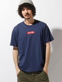 【SALE/35%OFF】WEGO (M)コンバース別注ボックス刺繍Tシャツ ウィゴー カットソー Tシャツ ネイビー ブルー ピンク ブラック ホワイト レッド