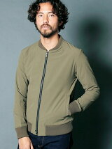 NYLON 4WAY STRETCH ZIP NARROW RIB BLOUSON
