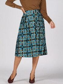 Viaggio Blu 【大きいサイズ】タイルプリントフレアスカート ビアッジョブルー スカート スカートその他 ブルー【送料無料】