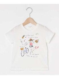 【SALE/49%OFF】3can4on 【90‐140cm】プリントクルーネックTシャツ サンカンシオン カットソー Tシャツ ホワイト グリーン ピンク