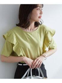 ViS フリル切替ゆるTシャツ ビス カットソー カットソーその他 グリーン ブラック ホワイト
