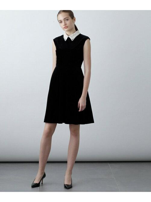 刺繍衿ベロアワンピース