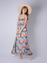 botanical flower long dress