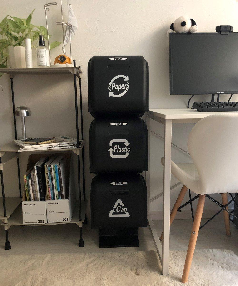 VIDA/スリーサイクルカン ブラック×ブラック アントレスクエア 生活雑貨【送料無料】