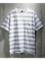 【ユニセックス】ピグメント加工 ボーダークルーネックTシャツ