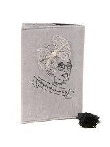 ガール刺繍ブックカバー