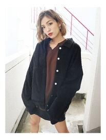 EMODA ワイドポケットコーデュロイブルゾン エモダ コート/ジャケット ブルゾン ブラック ブラウン【送料無料】