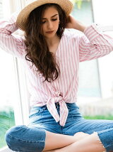 front ribbon stripe shirts