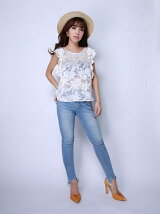 jacquard flower frill top