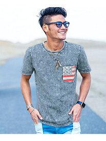 CavariA CavariAポケット付き星条旗柄天竺インディゴクルーネック半袖Tシャツ シルバーバレット カットソー