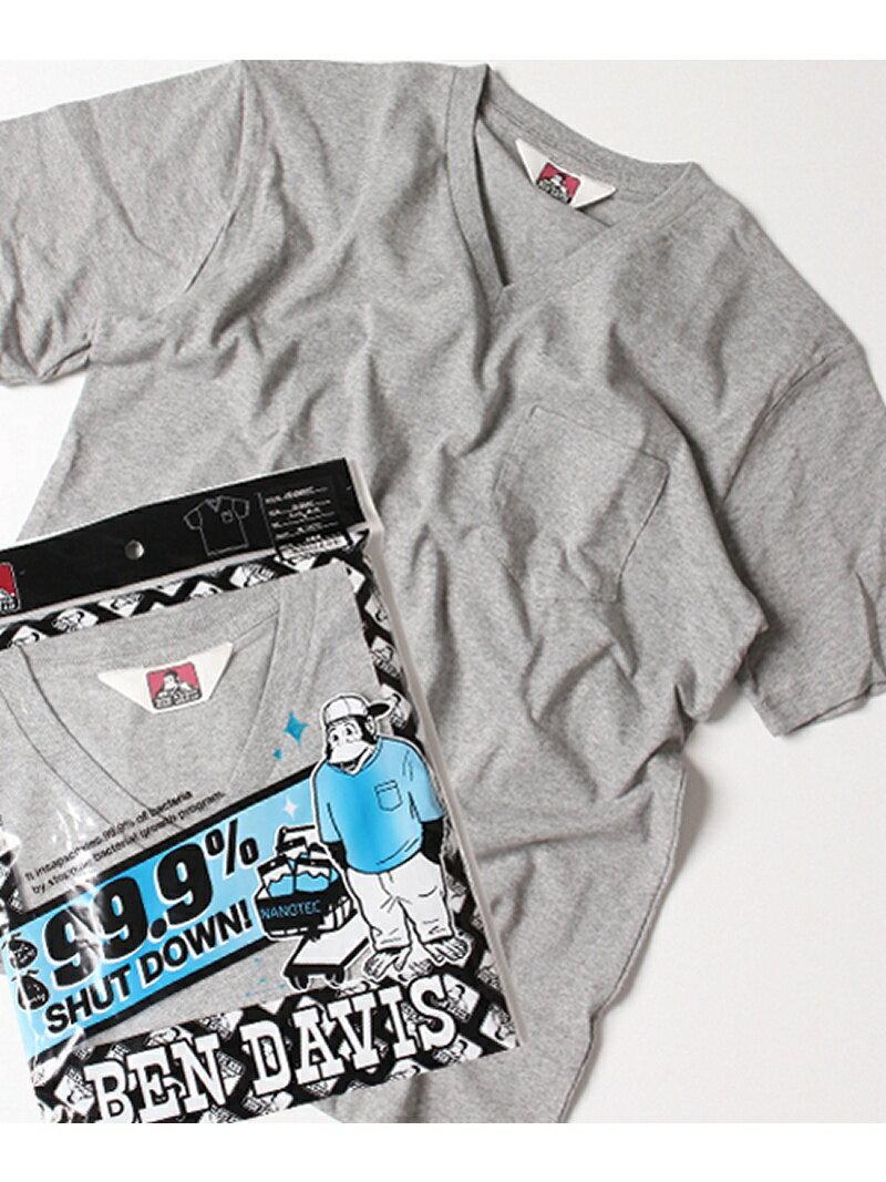 BEN DAVIS white label (M)ベーシックVネック半袖Tシャツ/ナノテック加工 ナバル