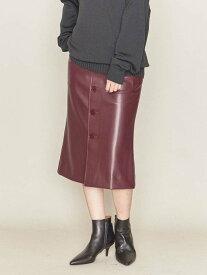 【SALE/60%OFF】ASTRAET ASTRAET(アストラット)フェイクレザーフロントボタンタイトスカート ユナイテッドアローズ スカート ロングスカート レッド ブラック【送料無料】