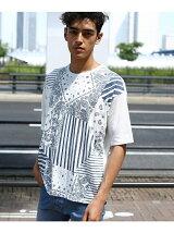 手書き風パッチワークプリントTシャツ
