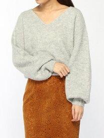 【SALE/16%OFF】rienda アルパカ パフ SLV knit TOP リエンダ ニット 長袖ニット グレー レッド ホワイト【送料無料】