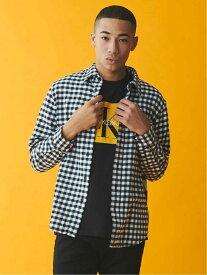 Calvin Klein Jeans (M)CALVIN KLEIN 【カルバン クライン ジーンズ】 メンズ ロゴ シャツ ビジネス カジュアル 綿 コットン AD-BUFFALO CHECK BRU J313340 カルバン・クライン シャツ/ブラウス 長袖シャツ ブラック ネイビー【送料無料】