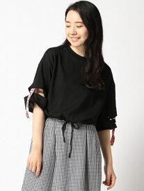 【SALE/20%OFF】WEGO WEGO/(L)カッティングロゴテープT ウィゴー カットソー Tシャツ ブラック ホワイト