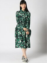 (W)Silk Aquarelle Floral LS Shirt Dress