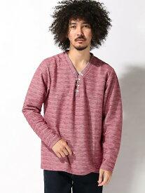 【SALE/40%OFF】DEVALTE レイヤード風ヘンリーネックTシャツ(長袖) スペンディーズストア カットソー Tシャツ レッド ネイビー ブラック