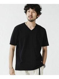 【SALE/50%OFF】nano・universe <WEB限定>超長綿オーガニックコットンVネックTシャツ/半袖 ナノユニバース カットソー Tシャツ ブラック グレー ベージュ ホワイト