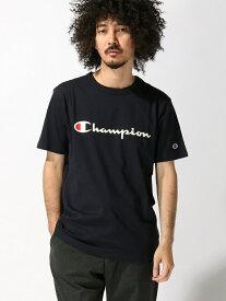【SALE/20%OFF】SPENDY'S Store 〈Champion〉ロゴプリントTシャツ スペンディーズストア カットソー Tシャツ ネイビー ブラック ホワイト グレー