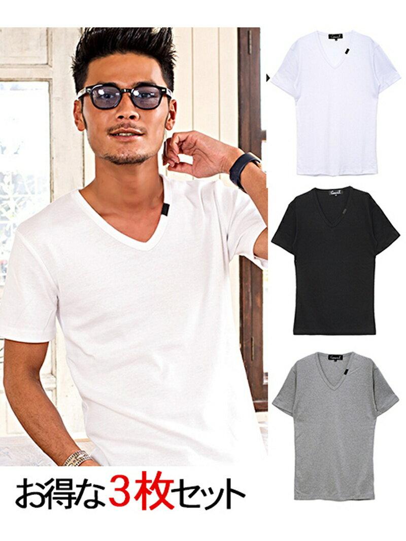 CavariA CavariA3PパックフライスVネック半袖Tシャツ シルバーバレット カットソー【送料無料】