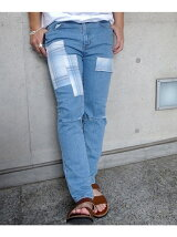 PATCHWORK CRASH SKINNY DENIM PANTS