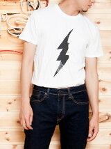 グラフィック半袖Tシャツ-LIGHTNING BOLT/ホワイト