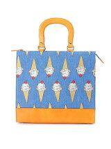 アイス刺繍かっちりバッグ