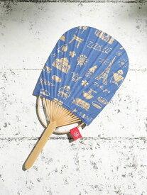 Afternoon Tea TOKYOモチーフひだりうちわ アフタヌーンティー・リビング ファッショングッズ ファッショングッズその他 ブルー