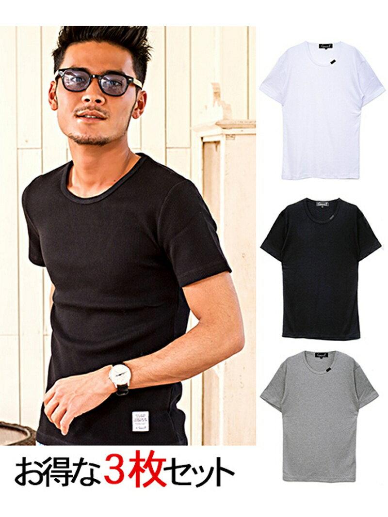 CavariA CavariA3Pパック サーマルクルーネック半袖Tシャツ シルバーバレット カットソー【送料無料】
