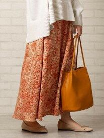 【SALE/60%OFF】coen 【WEB限定カラー】プリントサテンロングスカート(サテンスカート/プリントスカート)# コーエン スカート フレアスカート オレンジ ブラック カーキ ブルー