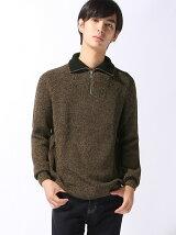 スタンドアップ襟リブニットセーター