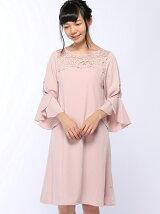 flexin/(W)ラップフレアースリーブAラインサックドレス