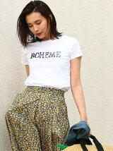 スパンコール刺繍ロゴちびTシャツ