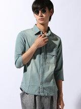 (M)【セレクト】6.5ozデニム オルテガ柄製品抜染シャツ