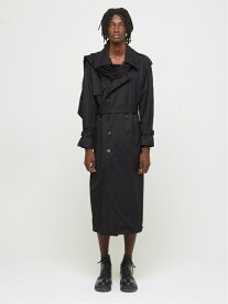 DRESSEDUNDRESSED Detachable Scarf Trench Coat シーナウトウキョウ コート/ジャケット トレンチコート ブラック【送料無料】