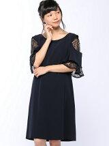 flexin/(W)レース切替ラッフルスリーブドレス