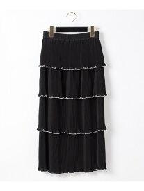 GRACE CONTINENTAL プリーツレイヤードスカート グレースコンチネンタル スカート スカートその他 ブラック ベージュ【送料無料】