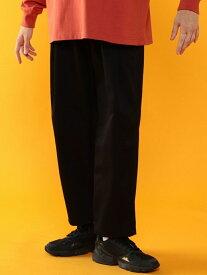 coen クールマックス(R)オールシーズンワンタックワイドバギーパンツ(UTILITYLINE) コーエン パンツ/ジーンズ フルレングス ブラック ベージュ【送料無料】