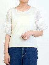 ネック刺繍袖シフォンプルオーバー