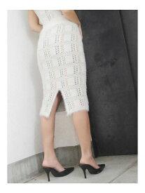 GYDA シャギーチェックタイトスカート ジェイダ スカート タイトスカート ホワイト グレー【送料無料】
