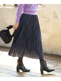 組曲 【洗える】MOONCHECKPRINTプリーツスカート クミキョク スカート スカートその他 パープル ブラウン ネイビー【送料無料】